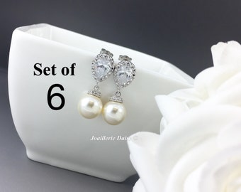 Set of 6 Swarovski Earrings Dangle Earrings Pearl Earrings Bridal Jewelry White Crystal Bridesmaids Gift Gift for Her Jewelry Gift idea