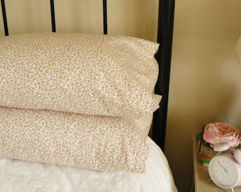 Ditsy Pink Floral Style Bedroom Pillow Shams Cases In Pure Cotton Fabric 2517