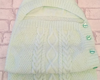 Knitted baby cocoon, baby papoose, baby sleeping sack, baby outerwear