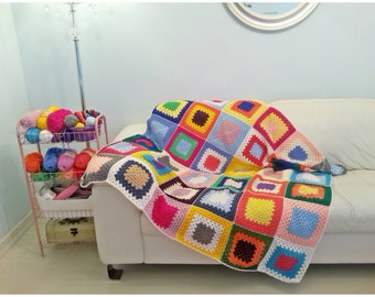Crochet Blanket, Crochet Afghan, Crochet Granny Square Blanket, Crochet Throw