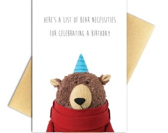 "Birthday Bear Card, Funny Birthday Card, Funny Recycled Paper Greeting Card - 100% PCW Recycled Paper, A7 5"" x 7"""