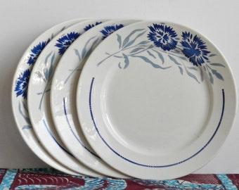 Badonviller Ensemble de 4 assiettes plates Modèle François décor fleurs bleues