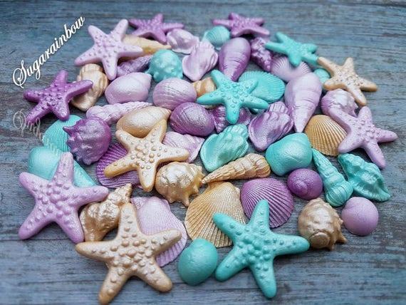 50 Edible sugar cake decorations shells sea stars cake ...