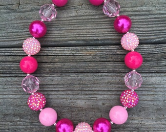 Pink Chunky Necklace, Pink Bubblegum Necklace, Pink Necklace, Pink Princess Bubblegum Necklace, Pink