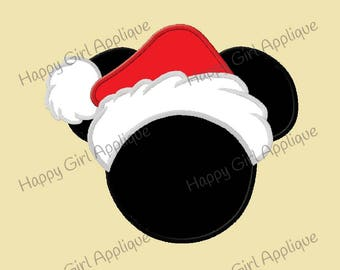 Mr Mouse Santa Hat Applique