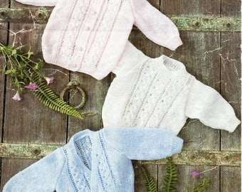 baby knitting pattern pdf 4ply baby jacket sweater and crossover cardigan 14-20inch 4ply sports pdf instant download
