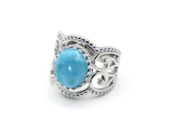 Larimar Stunning 12X10 Corona Ring, High Polished .925 Sterling Silver Size 7