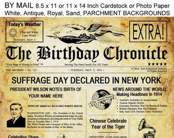 MAIL - The Birthday Chronicle - 8.5x11 or 11x14 inch - What Happened On Your Birthday Headline Newspaper, Newsletter Print