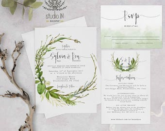 Green foliage Wedding Invitation, woodland wedding, invite calligraphy, woodland wedding, outdoor wedding cards, leaves forest wedding