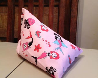 iPad Mini Beanie / Kindle Stand / e Reader Pillow / Tablet Cushion - Pink with Mermaids