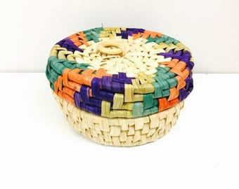 Vintage Multicolor Corn Husk Basket with Lid