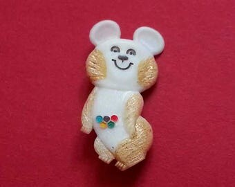 Olympic bear. Olympic Misha, Olympic Games, Bear Soviet Vintage Pin, Made in USSR, Moscow 1980