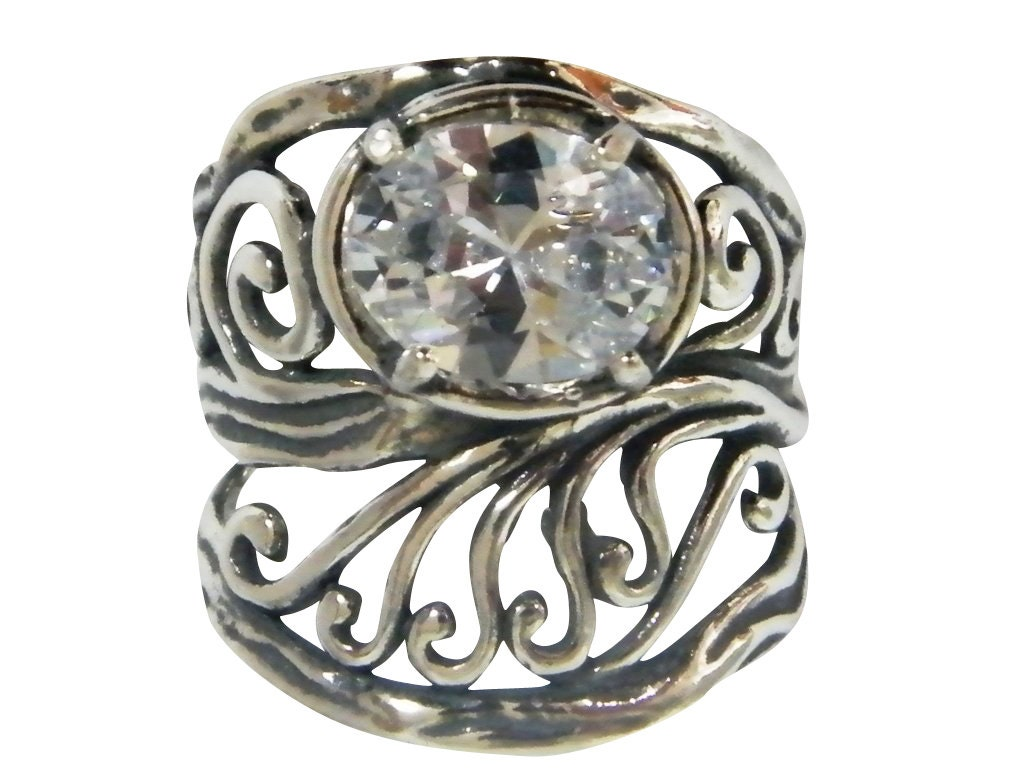 white zircon rings oxidized rings zircon silver rings