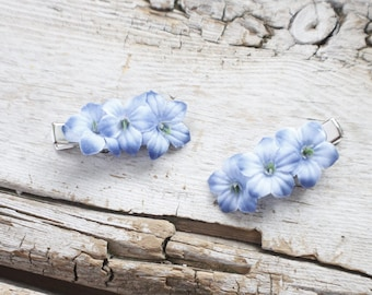 set of TWO purple / blue hair clips, flower hair accessory, hair clips for girl, hair clip for women, hair clips for toddler, gift for her