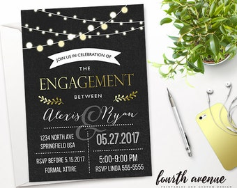 Custom // Printable // Engagement Party Invitation // Chalkboard // Evening Market Lights // #992015W