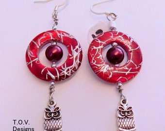 Mother of Pearl Owl Charm Earrings