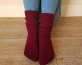 "Maroon Cashmere Sweater Socks // Size 5-8, 17"" Tall // upcycled wool sweater // Washable // Thick felted wool sole"