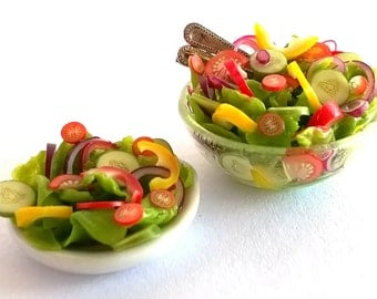 DOLLS House Food; Miniature Food - A very Fine Glass Bowl of Mixed Salad   QUALITY; As in The Dolls House Magazine 5. 2016;  OOAK