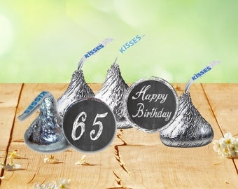 65th Birthday Hershey Kiss Stickers, Hershey Kiss Birthday Labels, 65th Birthday Retirement Stickers, 65 Years Old Birthday Stickers