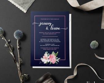 Floral Wedding Invitation, Romantic Calligraphy, Digital File