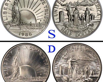 1986S or 1986D Statue of Liberty Proof Half Dollar Mirror Finish or 1986D Regular Stike Mat Finish