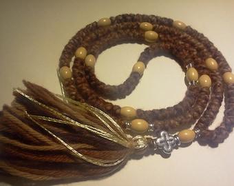 Prayer rope 150 knot entire Rosary Orthodox 26 inches russian greek chotki, wooden beads kombuskini, blessed