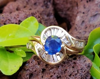Vintage 14k Yellow Gold Diamond Natural Blue Sapphire Band Ring Estate Jewelry 6 gm