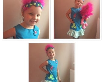 "Princess Poppy Troll Inspired ""Personalised"" Dress and Headband"