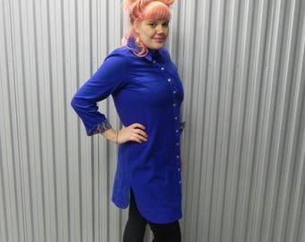 RARE Beene Bazaar Cobalt Blue Wool Shirt Dress