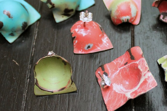 Handmade, Distressed Earrings - Punctuated in Green