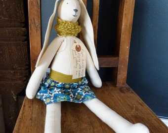 Beautiful Handmade Upcycled Linen & Calico Soft Bunny Doll. Perfect for Easter. Cloth Textile Rabbit.