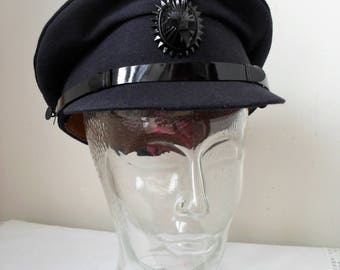 Vintage Chauffeur's CAP BLACK Cap Driver's Cap Wedding/Fancy Dress Professional Quality Black Cap Size 6 7/8