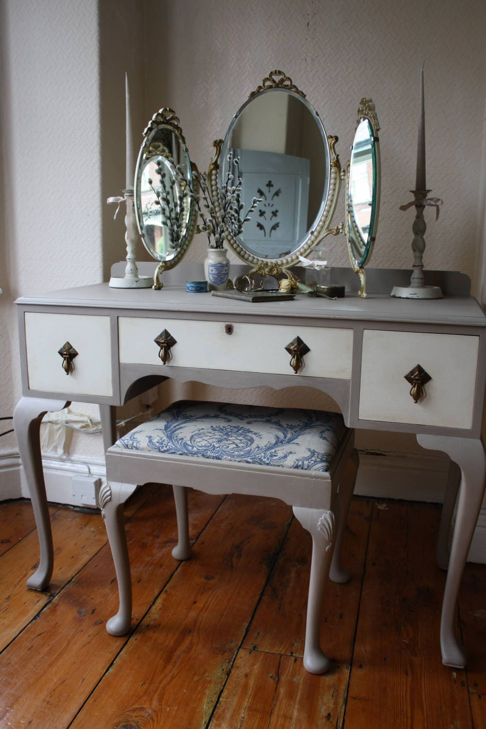 Dressing Table Chairs And Stools: Upcycled Vintage Dressing Table Stool