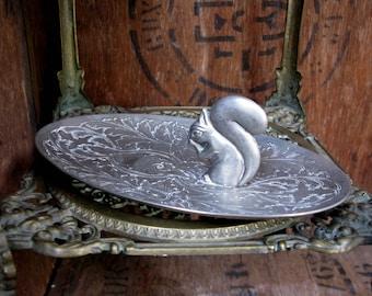 Seba Squirrel Dish, Squirrel Tray, Squirrel Trinket Dish, Silver Dish, Nut Dish, Candy Dish, Squirrel Gift, Vintage Silver, Seba Silver