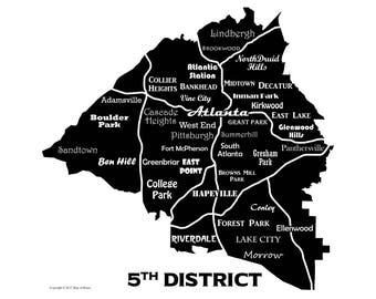 Atlanta Neighborhoods Map Art Print, 5th District, Downtown Atlanta Map, GA Tech, Atlanta Map Art black and white
