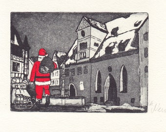 Christmas-Santa Claus in the city-original-etching-printgraphs-Engraving-limited edition: 50
