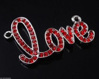 1 x LOVE Rhinestone Red Connector Bead