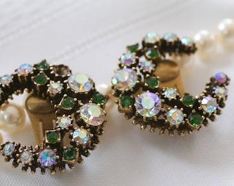 Glamorous Vintage Half Moon Rhinestone Clip On Earrings