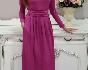 Dusky Pink Maxi Dress  Round Neckline Long Sleeves Pockets