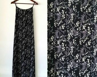 Vintage La Belle Floral Maxi Spaghetti Strap Tie Back Dress Size 9