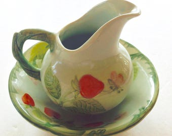 Vintage Franciscan Strawberry Pitcher and Saucer