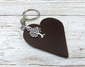 Leather Anniversary  3rd Anniversary Gift  3rd Wedding Anniversary  Leather Keyring  Leather Gift  Keychain Charms  Tree Charm