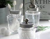 Kilner Vintage Glass Preserve Jar Bathroom Set with Nickel Water Well Dispenser Toothbrush Holder  Storage Jar UK SELLER