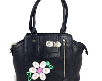 Cari Street handbags - Satchel - Top Handle Handbag - Vegan Bag - Briefpurse - Designer Handbag - Trapeze Handbag - Embellished Bag