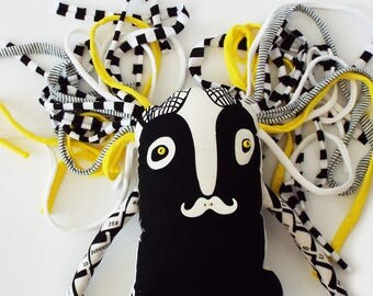 Monster Doll, Crazy Rag Doll, Handmade doll, Home Decor, Black White Yellow Monster Doll, Doll with a mustache, Modern Textile Doll