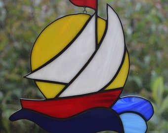 Yacht ( Sailing into the Sunset ) - Stained Glass Suncatcher