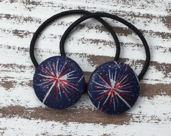Firework Hair Button - 4th of July Ponytail Holder - Fourth of July Hair Tie - America Hair Clip – Red White Blue Flag Hair Elastic