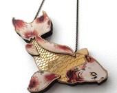 Laser Cut Gold Japanese Koi Carp Fish Statement Necklace  layered wood and gold acrylic  Koi Mermaid Goldfish Fish Jewellery