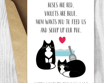 Valentine Card Printable, Valentine Card Him Printable for Dad, Funny Tuxedo Cats Valentine Cards for Husband from the Cats, Boyfriend