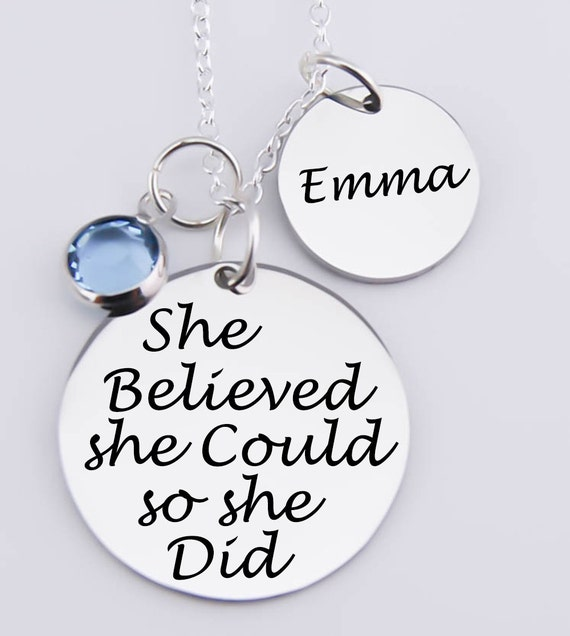 She Believed She Could So She Did Engraved Necklace